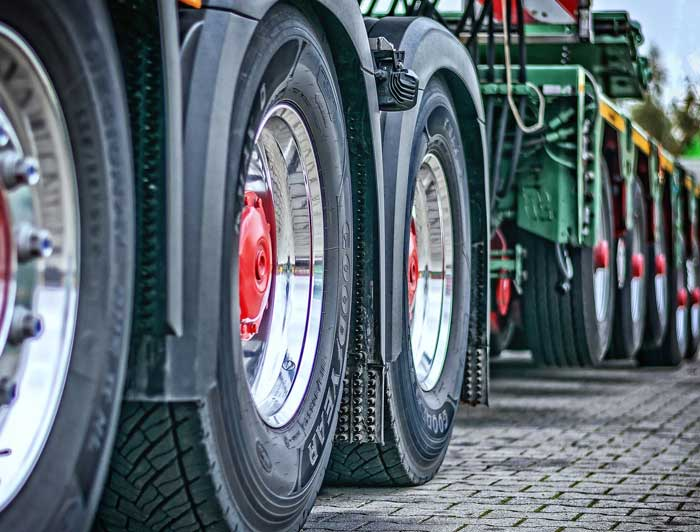 Wheels of a large commercial truck.