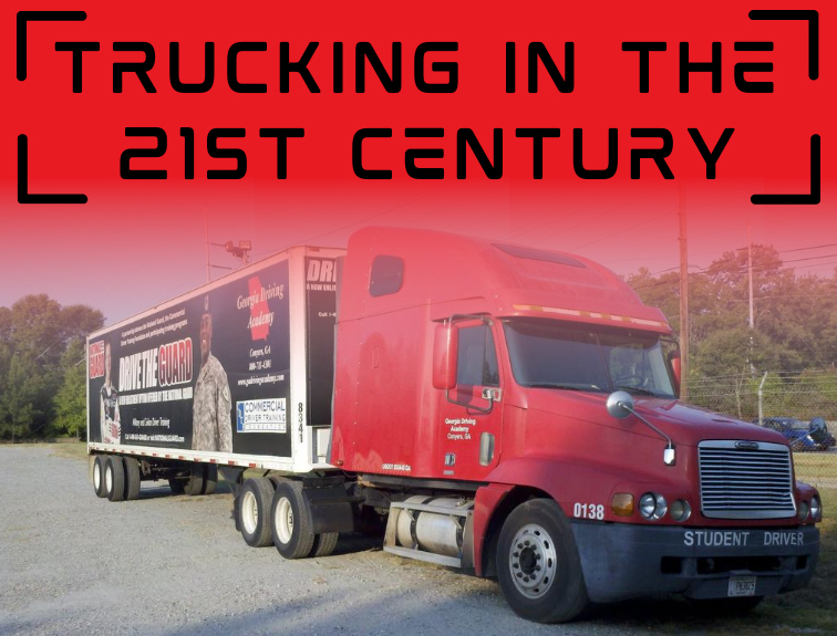 It reads, Trucking in the 21st Century on top, with a picture of a red semi below it