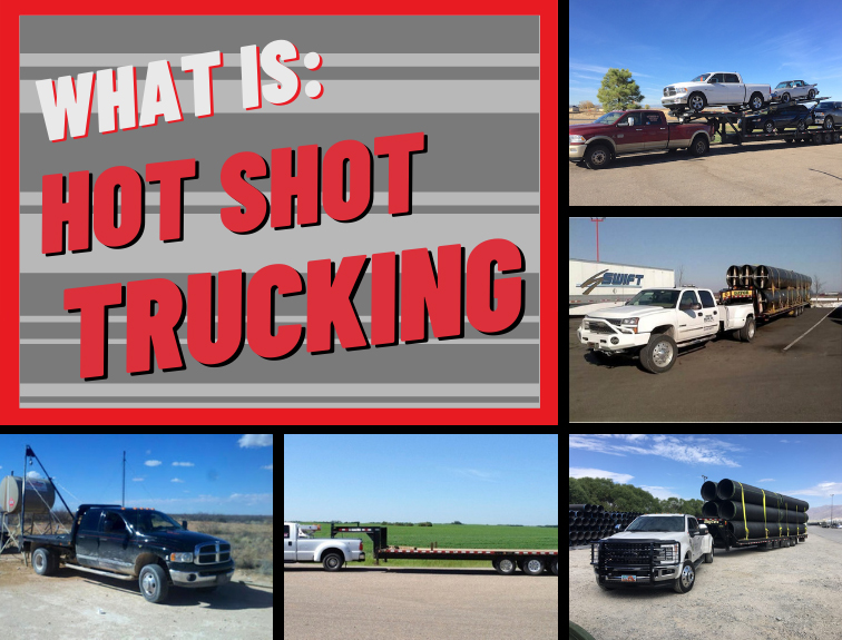 Red text reads what is hot shot trucking, surrounded by photos of trucks