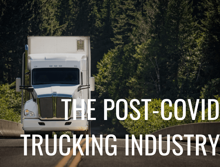 "white truck driving on road with text ""the post-covid trucking industry"""